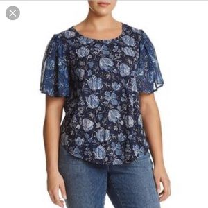 Lucky Brand Plus Size Navy Blue Floral Top 3x